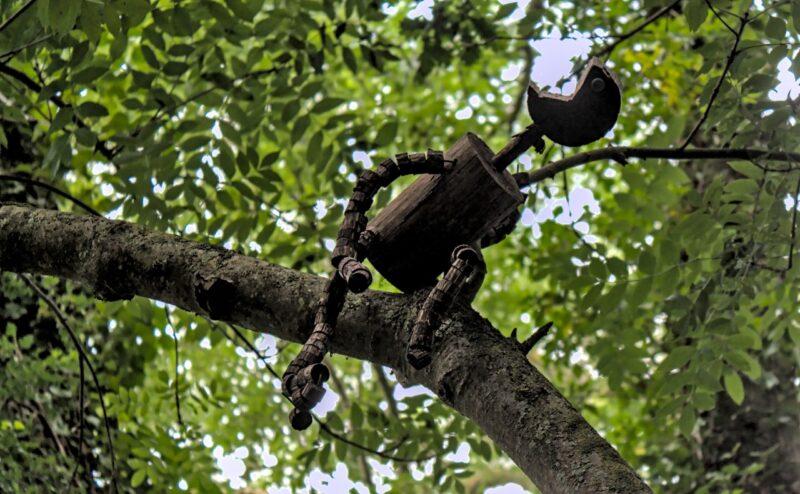 Un drôle de personnage sur un arbre perché